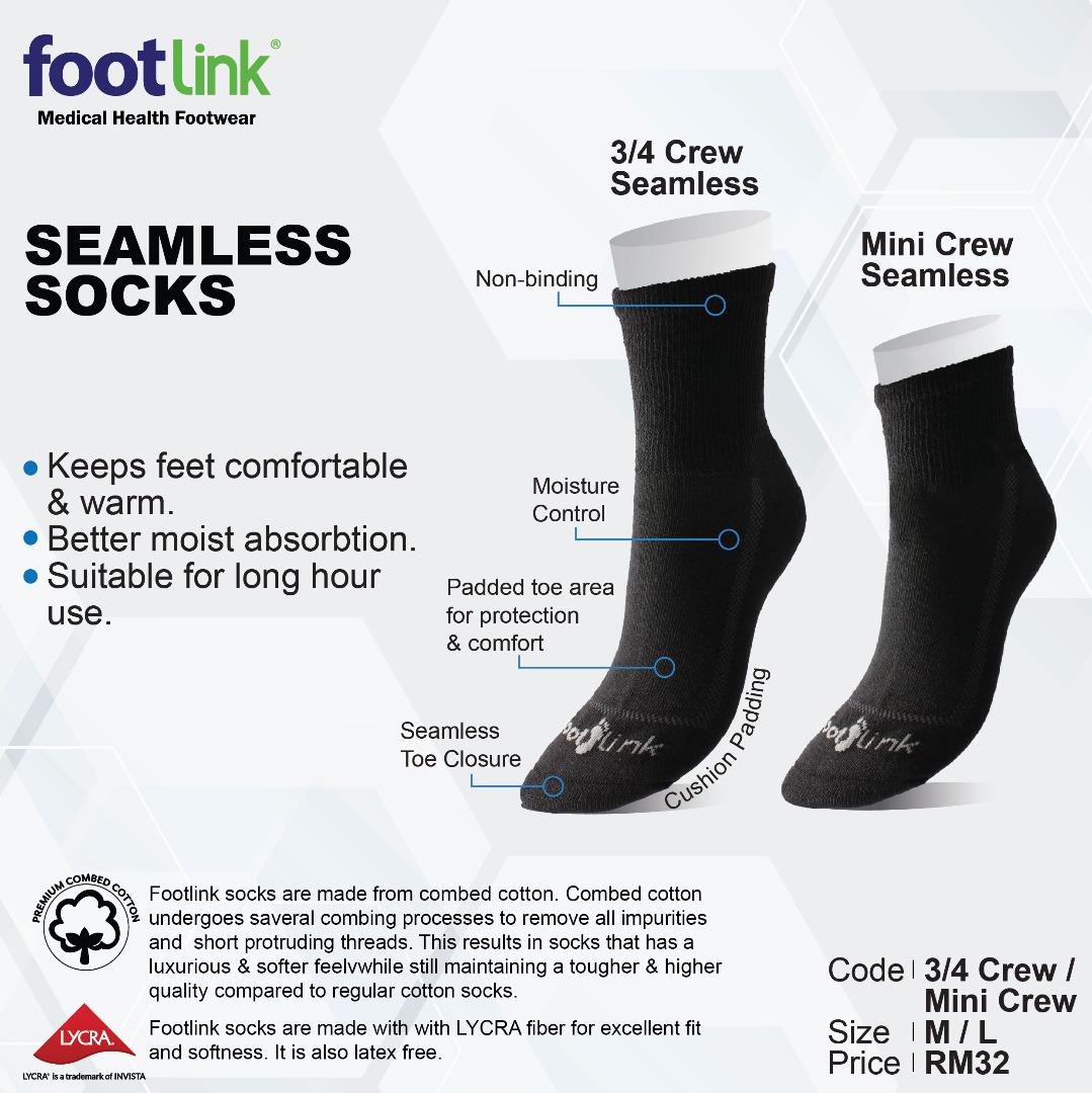 Seamless Cotton Socks (3/4 Crew) - Diabetic Socks For Men & Women